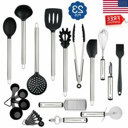 23PCS Silicone Kitchen Utensil Set Stainless Steel Handles H